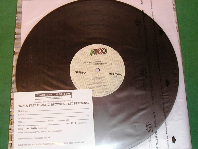 PETE TOWNSHEND & RONNIE LANE - ROUGH MIX - * RARE CLASSIC RECORDS 200 GRAM PRESS *  NM 9/10