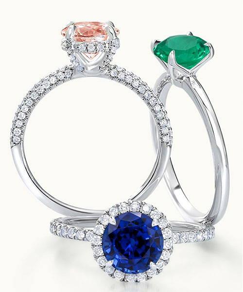 Custom Coloured Gemstone Rings Australia
