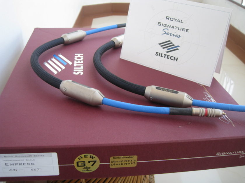 SILTECH ROYAL G7, EMPRESS , O.75 metre pair , rca interconnect,