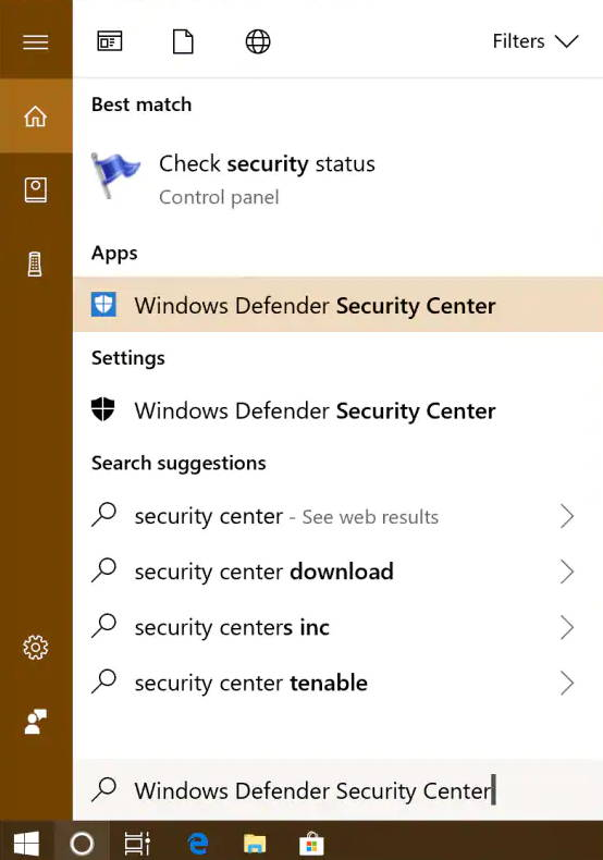 open windows defender