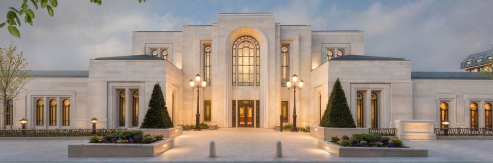 Banner image photo of the front of the Paris France LDS TEmple