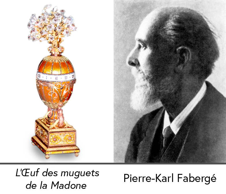 A photo-montage of the Russian jeweller Pierre-Karl Fabergé placed next to one of his famous eggs created for Tsar Nicholas 2 of Russia entitled the Lily of the Valley Egg of the Madonna.