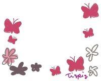 フリー素材ちょう蝶々と花のイラストシンプルでガーリーな素材