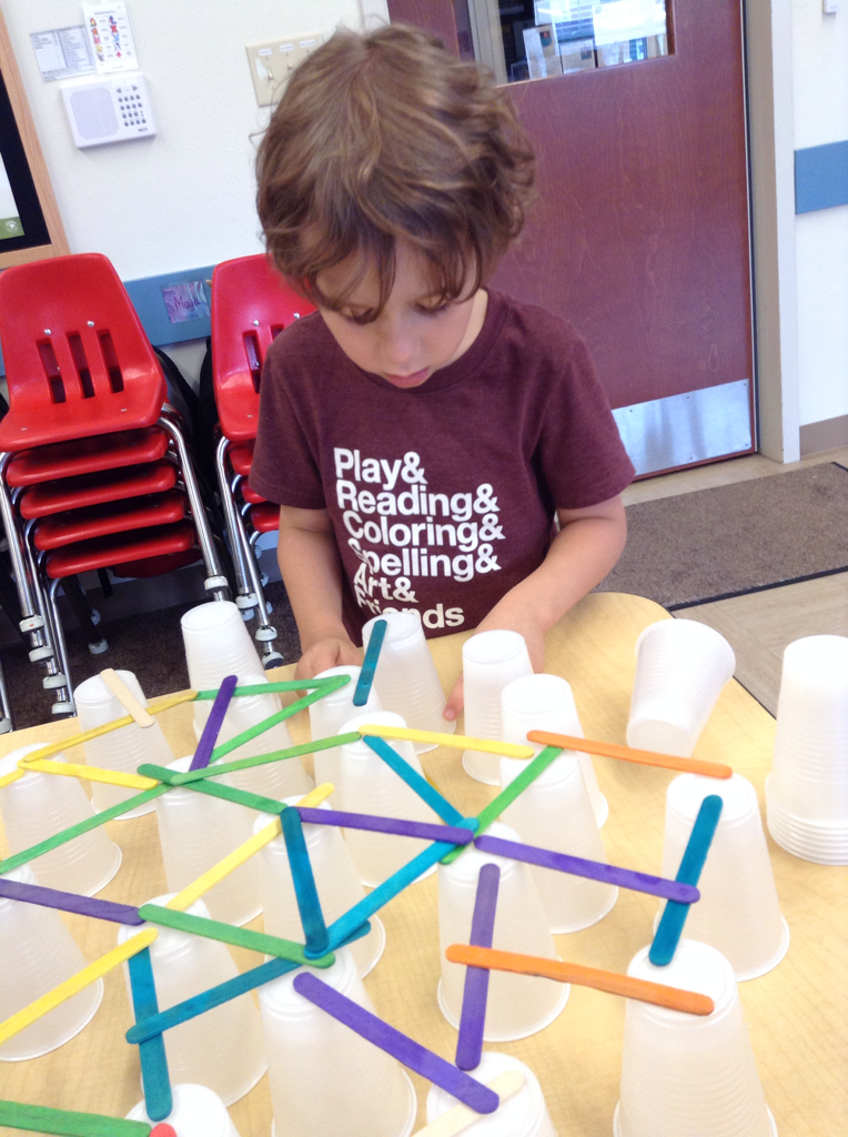Cups and Popsicle sticks build are the start of the STEAM project.