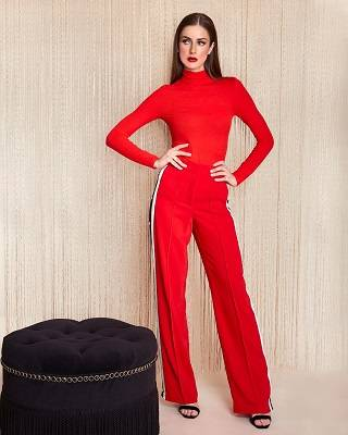 Red Ribbed Long Sleeve Turtleneck + Red High Waisted Relaxed Side Snap Trouser