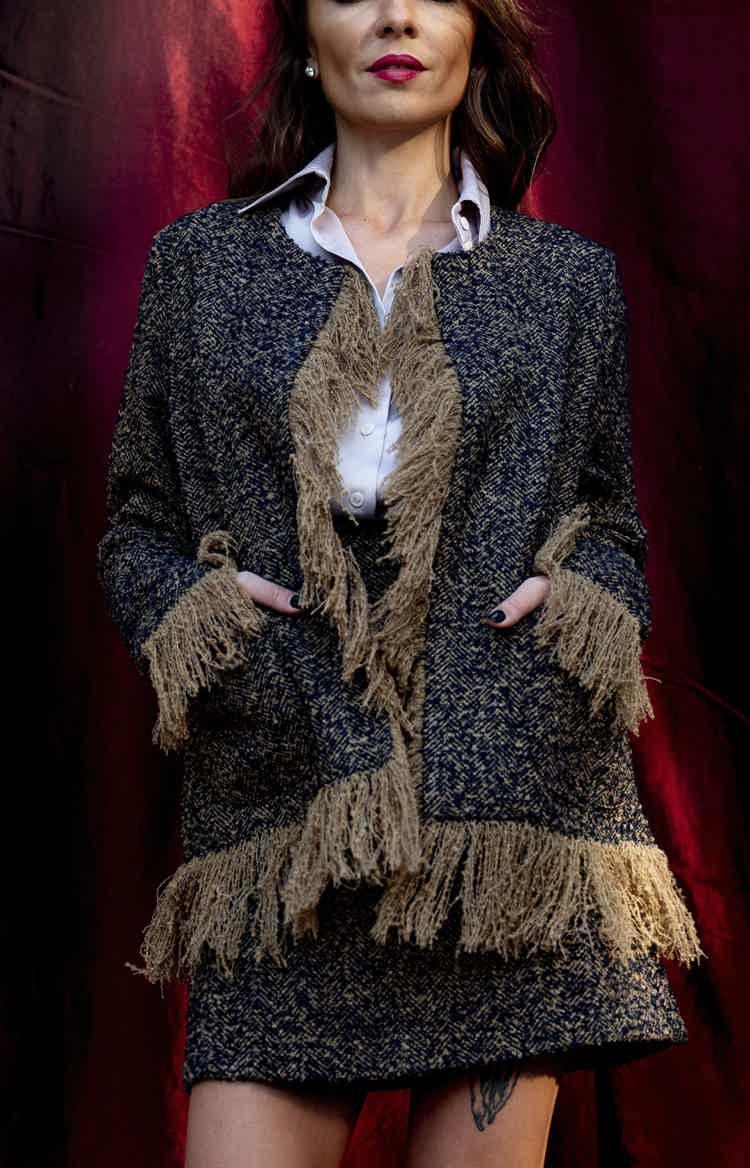 Boho style tweed suit