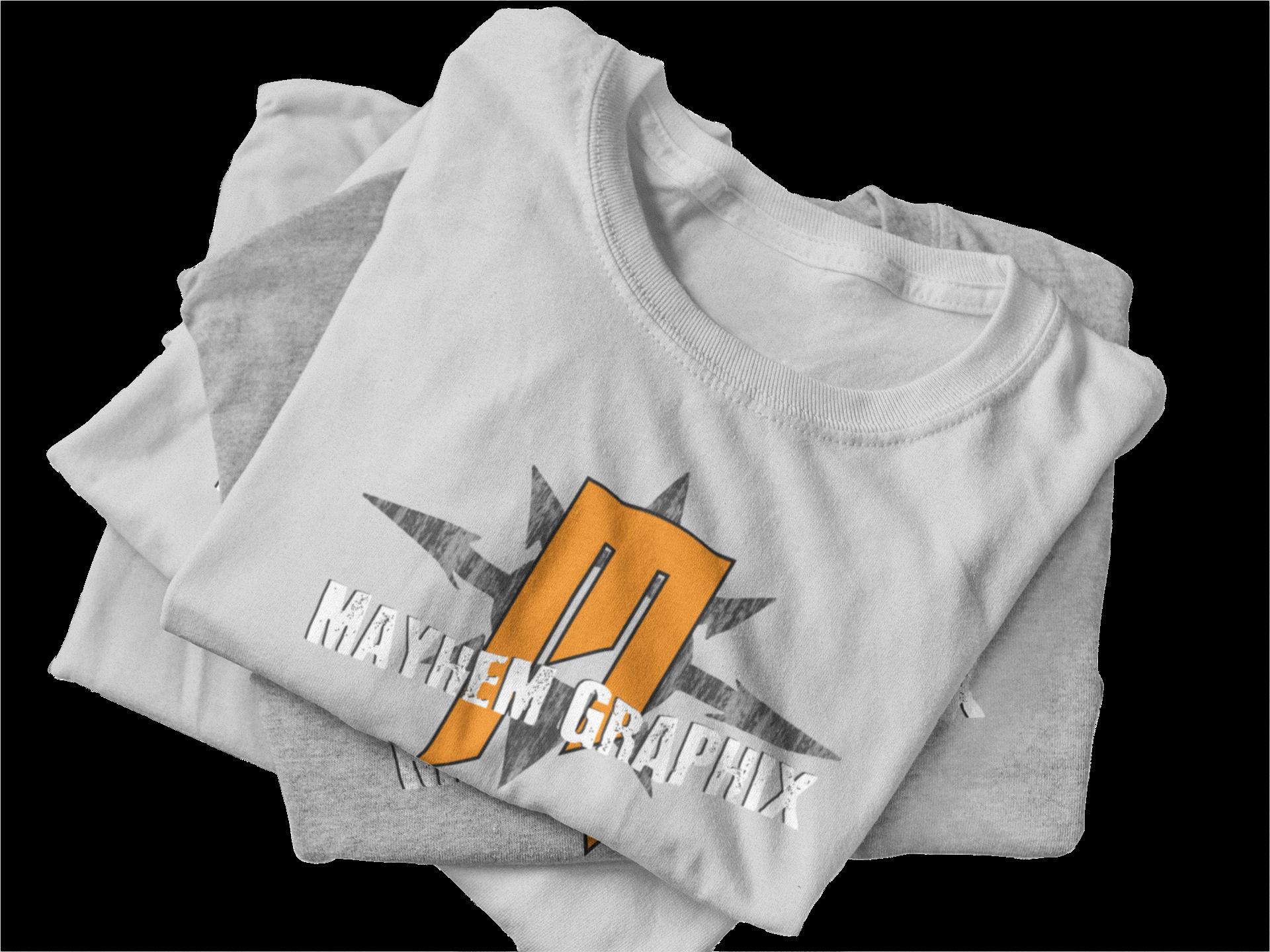Stack of Mayhem Graphix t-shirts
