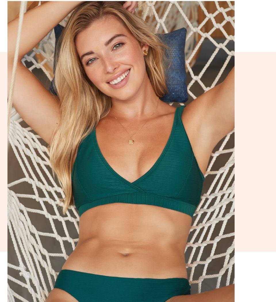 SKYE's Seraphina top and Angelina bottom in the Bliss Green color from the GEMS collection.
