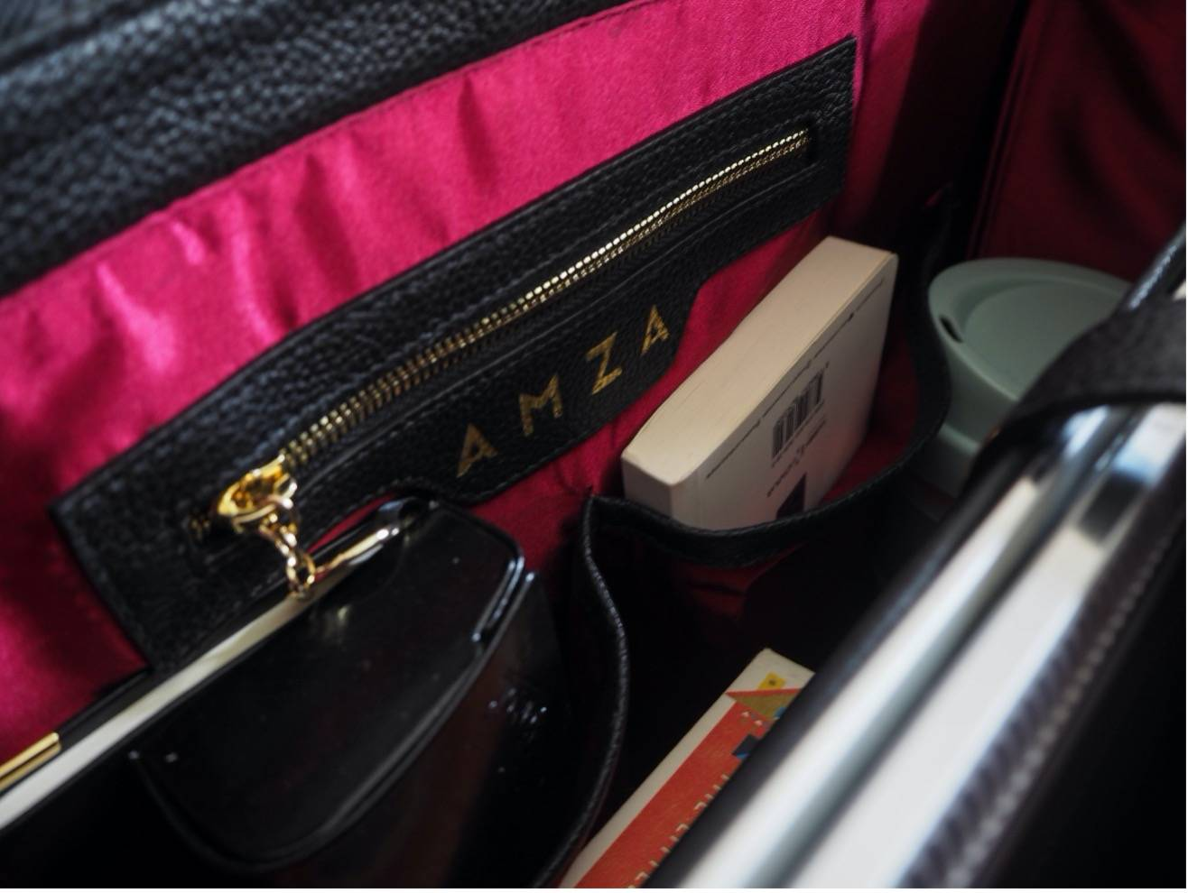 The interior of Evora - the Workbag with items in it