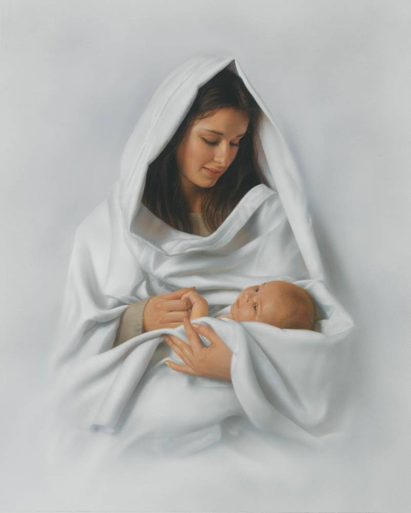LDS art Nativity print of Mary dressed in white holding infant Jesus.