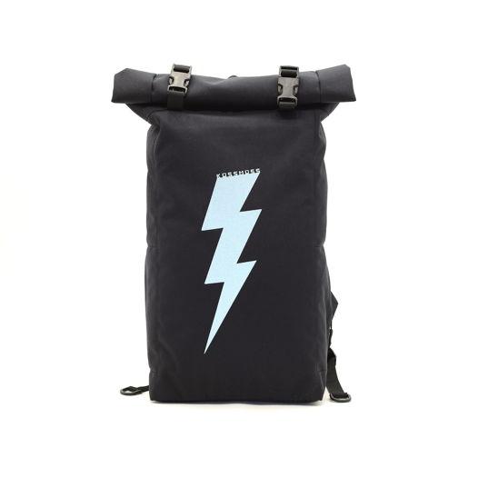 Черный ролл топ рюкзак со светоотражающим принтом / Сумка велосипедиста