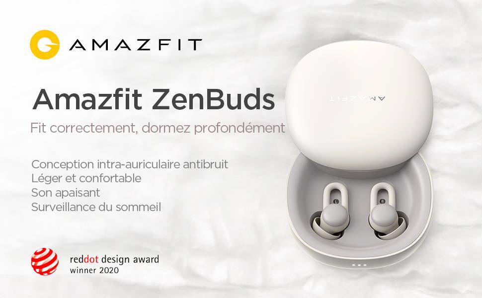 Amazfit ZenBuds - Fit correctement,dormez profondément - Conception intra-auriculaire antibruit | Léger et confortable | Son apaisant | Surveillance du sommeil