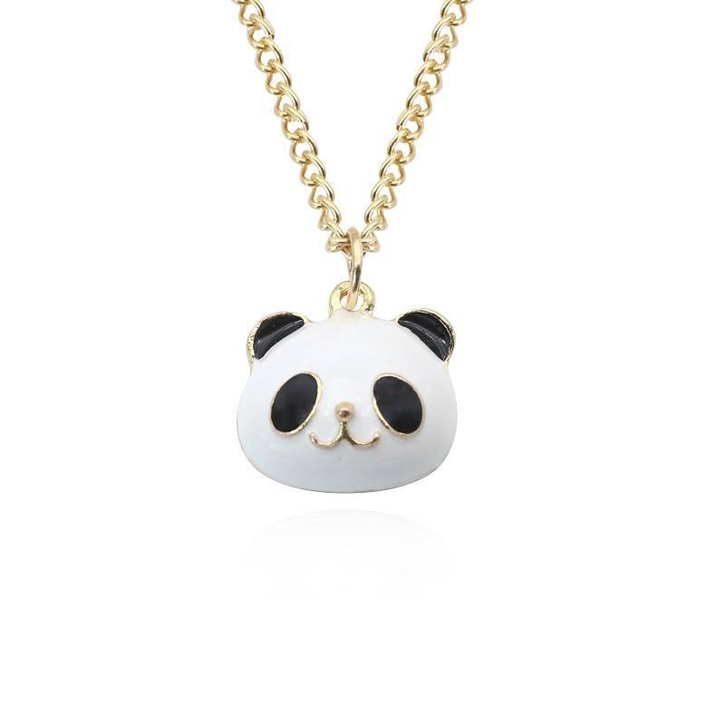 collier tete panda noir et blanc chaine dore