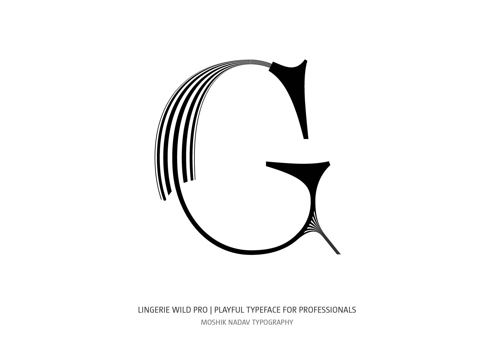 Lingerie Wild Pro Typeface uppercase G designed by Moshik Nadav Fashion Typography