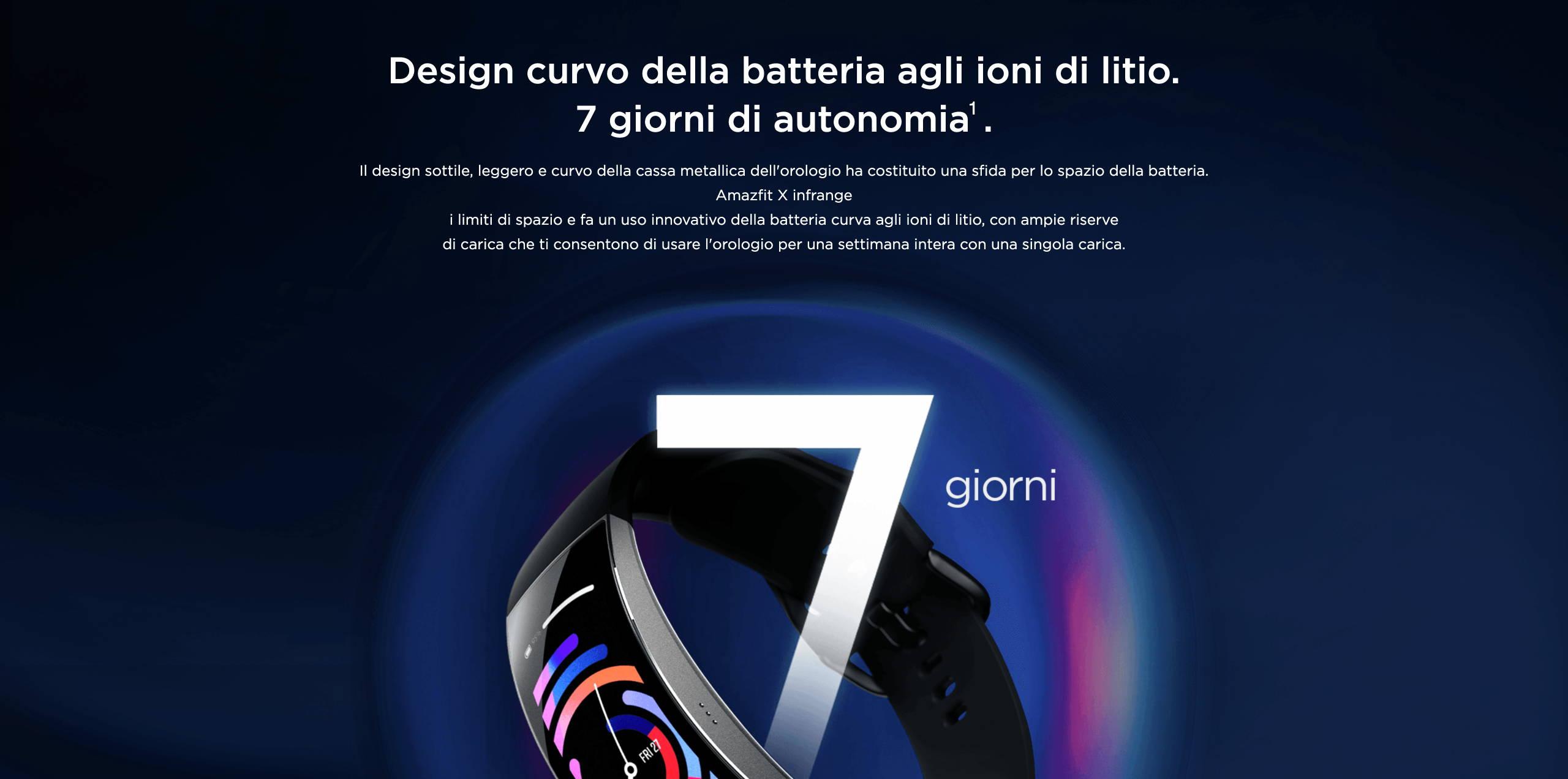 Amazfit X - Design curvo della batteria agli ioni di litio.7 giorni di autonomia.