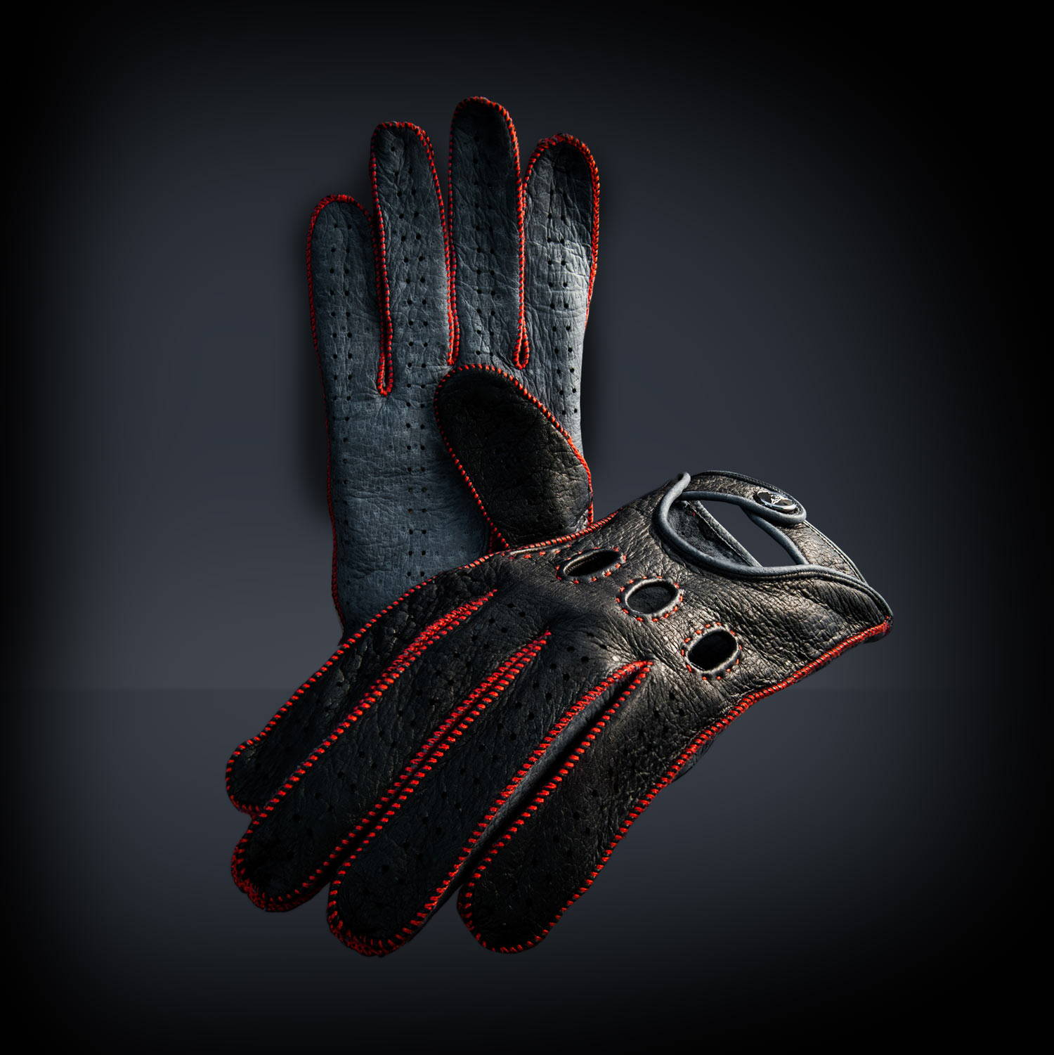 red driving gloves