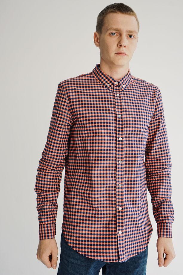 Рубашка мужская красно-синяя клетка