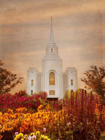 Brigham City Temple. with fall flowers in the foreground.