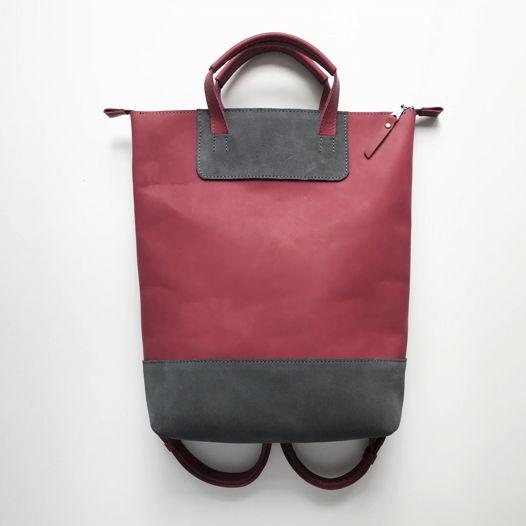 Кожаный рюкзак-сумка Flat Handles Marsala/Gray