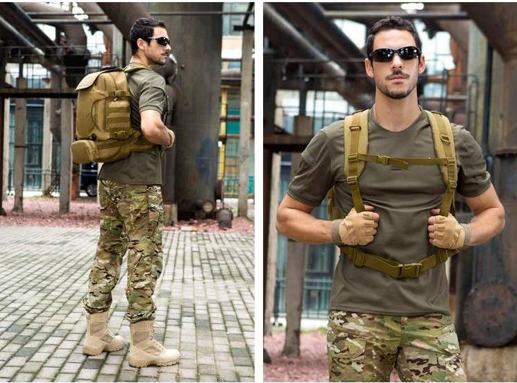 Man wearing tactical backpack, tactical backpack being used