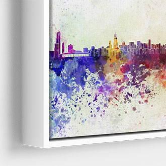 Narrow white canvas floater frame