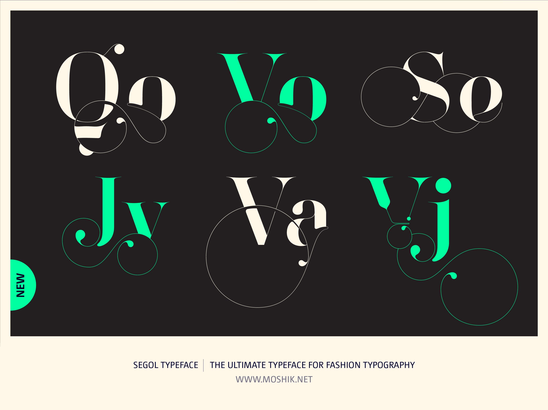 Segol Typeface, Fashion fonts, Fashion logos, Fashion typeface, new font, Moshik Nadav, sexy fonts, Qo, Vo, Se, Jv, Va, Vj, ligatures