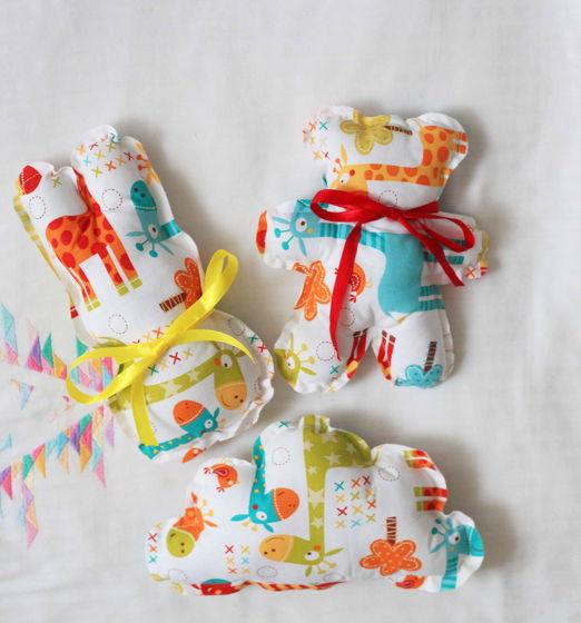 Детские игрушки из натурального хлопка: Зайка, Мишка, Облачко