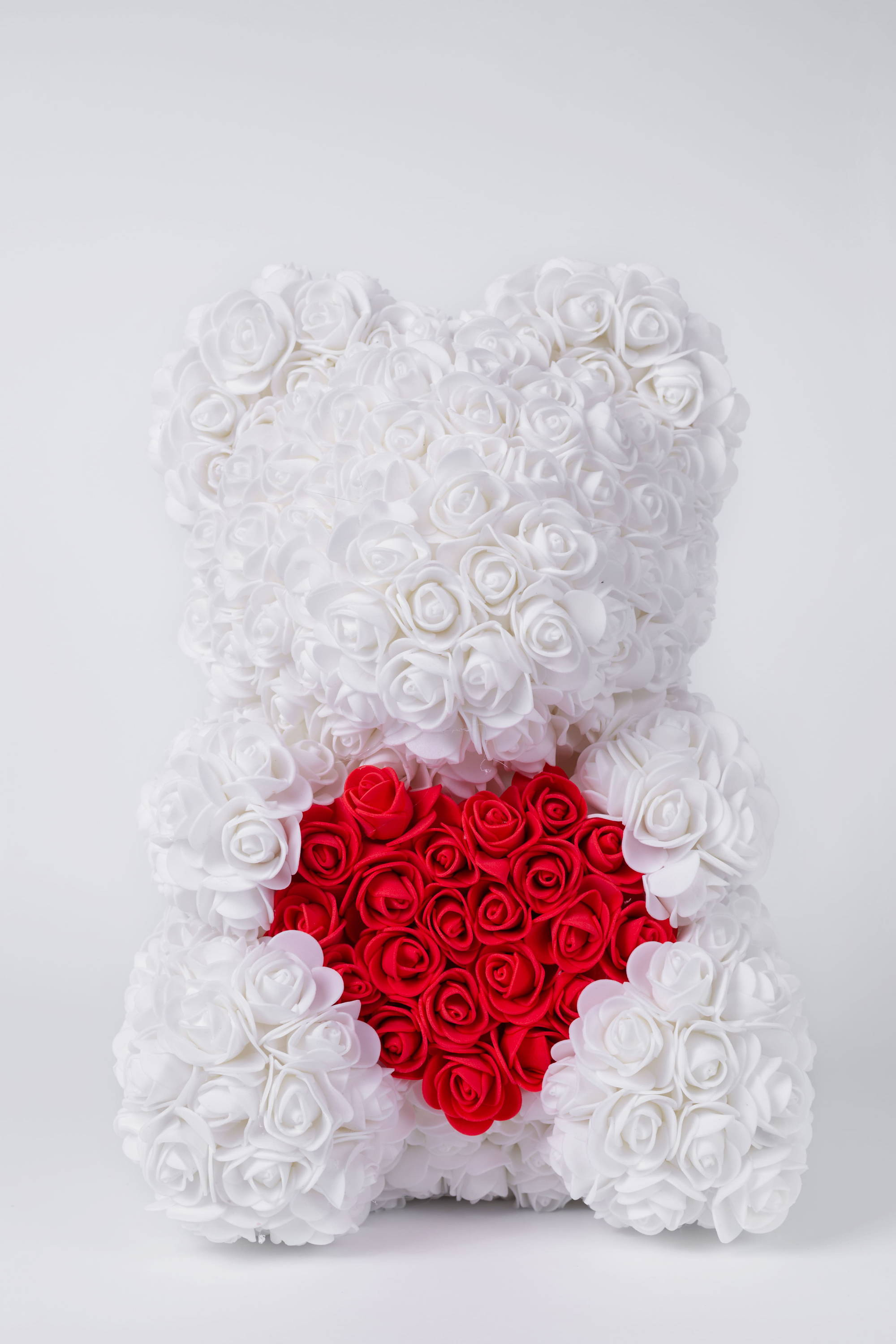 white rose bear, flower teddy bear,