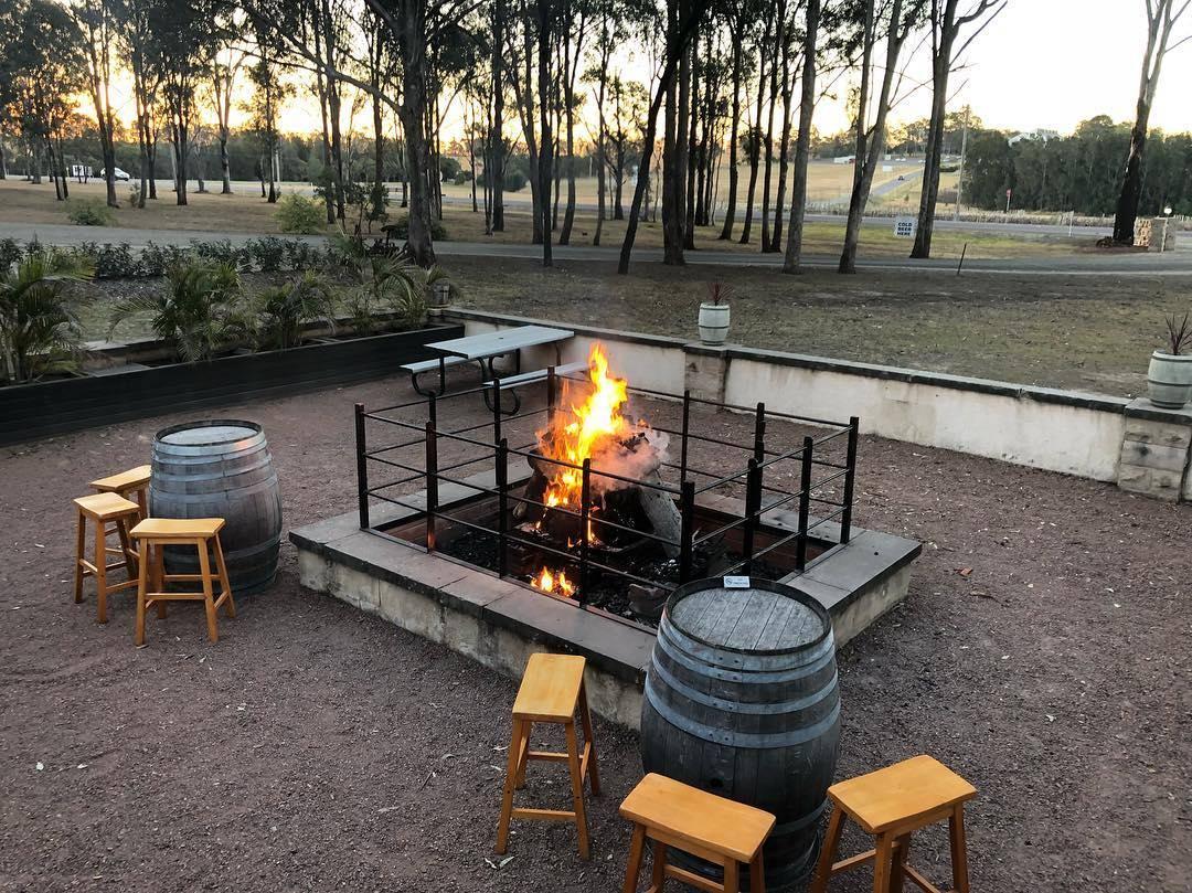 Open fire outside at Blaxland Inn Hunter Valley Restaurant Hunter Valley Winery