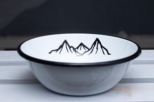 """Эмалированная миска """"Горы зовут"""" 600 мл."""