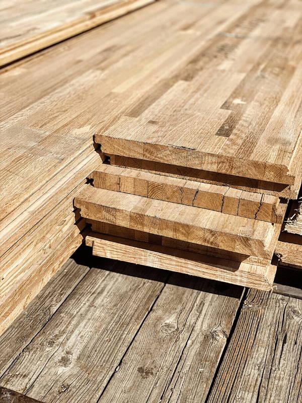 Custom countertop made with reclaimed oak butcher block