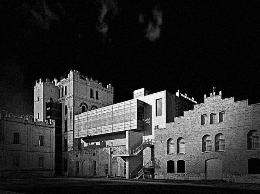 black and white photo of the San Antonio Museum of Art