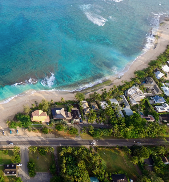 Arial view of the north shore of Oahu during Pau Hana time