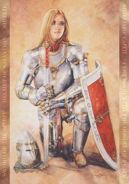 LDS art poster by Judy Cooley of a young woman wearing armor.