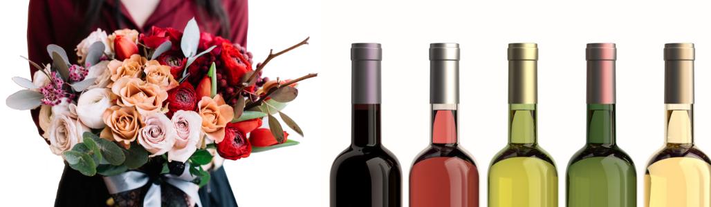 Bloemen met wijn