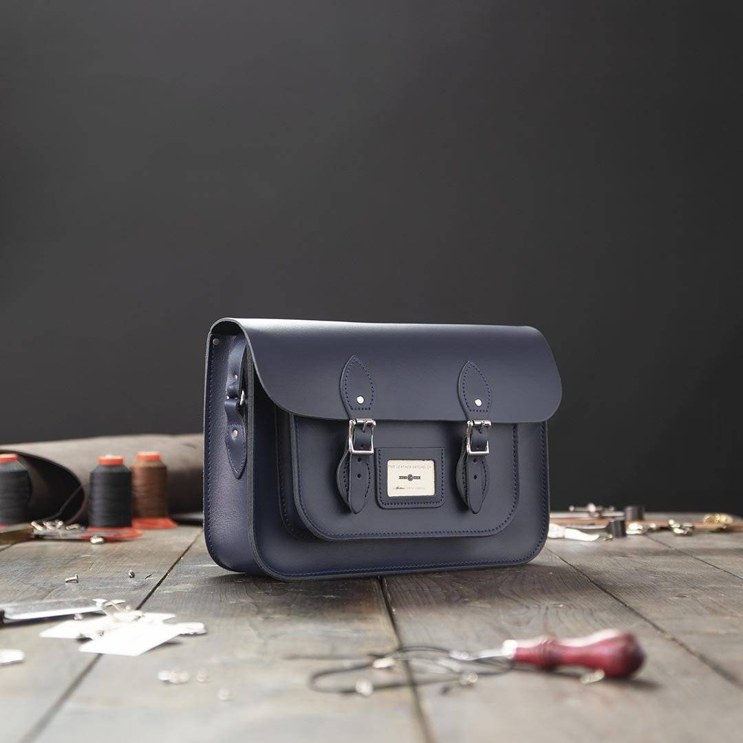 Blue 14 inch Leather Satchel