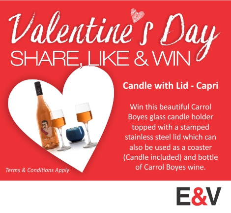 South Africa - Win a Carrol Boyes CANDLE WITH LID - capri and a bottle of wine this Valentine's Day