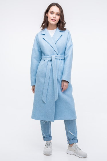 Женское пальто-халат голубого цвета из вареной шерсти