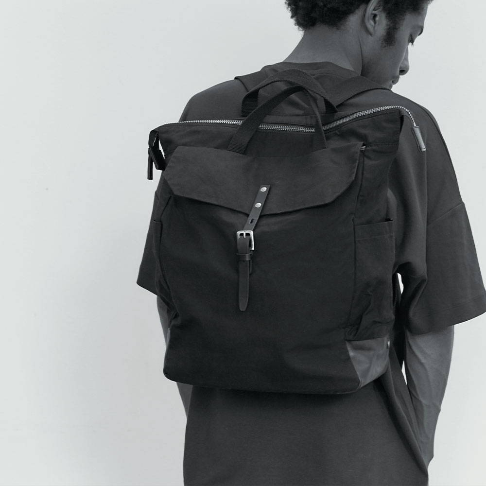 Ally Capellino Black Fin Waxed Cotton Backpack