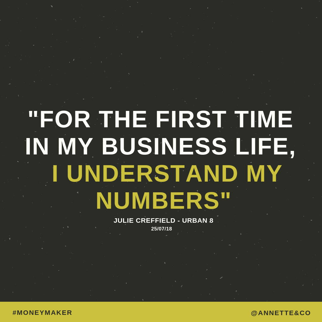 For the first time in my business I understand my numbers says Julie Crefiels from Urban B