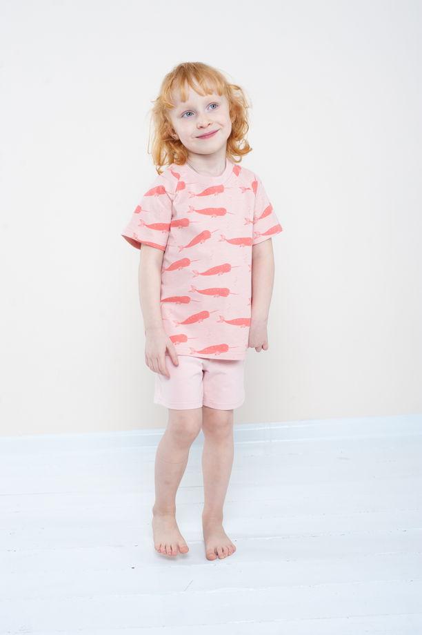 """Летняя пижама для девочки из органического хлопка """"Нарвал"""""""