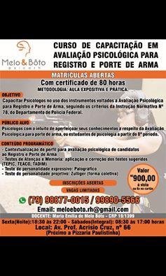 Curso de Avaliação Psicológica para Arma de Fogo no RJ