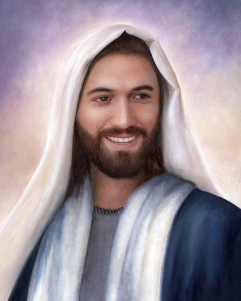 Painted portrait of Jesus smiling.
