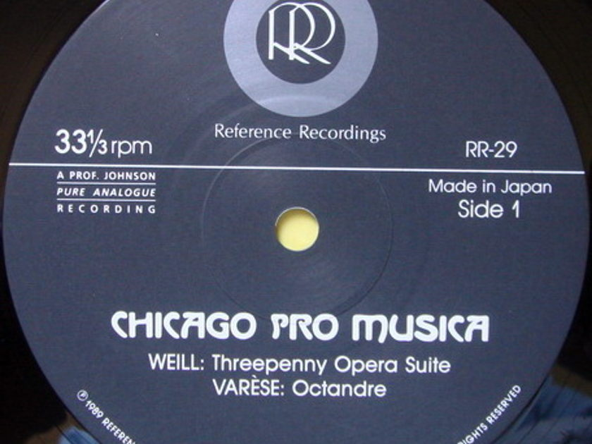 ★Audiophile★ Reference Recordings / CHICAGO PRO MUSICA, - Weil Threepenny Opera Suite, NM, TAS LP!