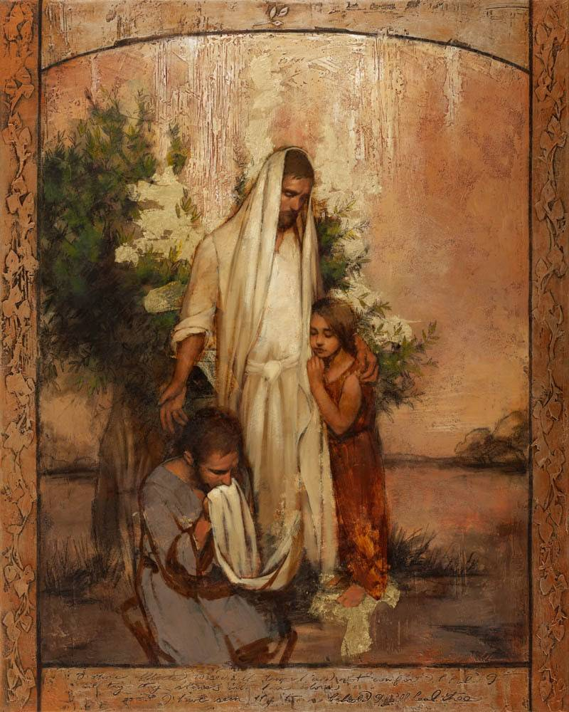 LDS art painting of Jesus comforting two people.