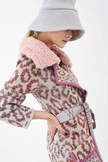 """Вязаное пальто """"Лео"""" со съемным воротником,поясом и накладными карманами"""