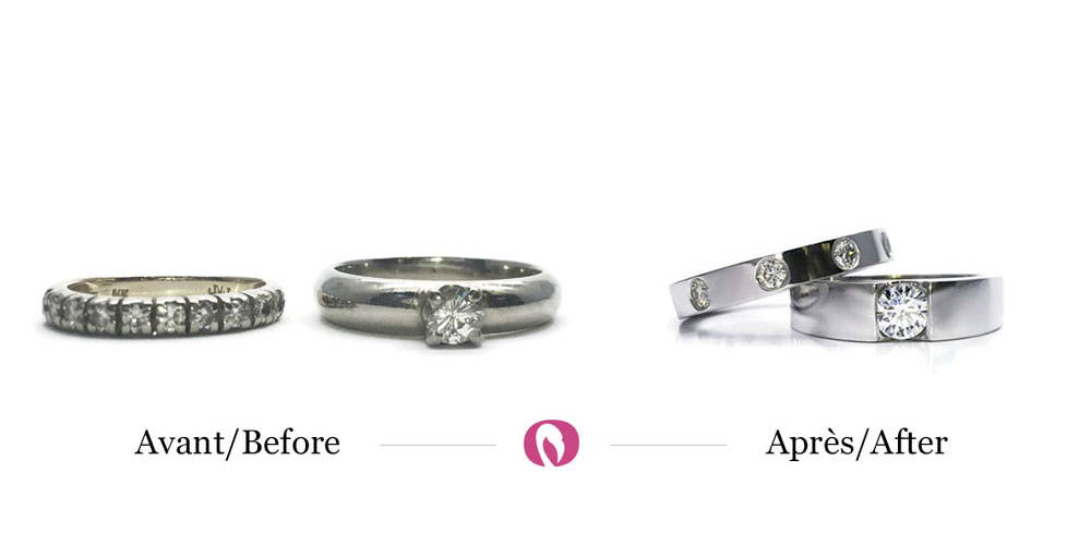 Recycling of old solitaire white gold and semi-eternity diamond jewellery