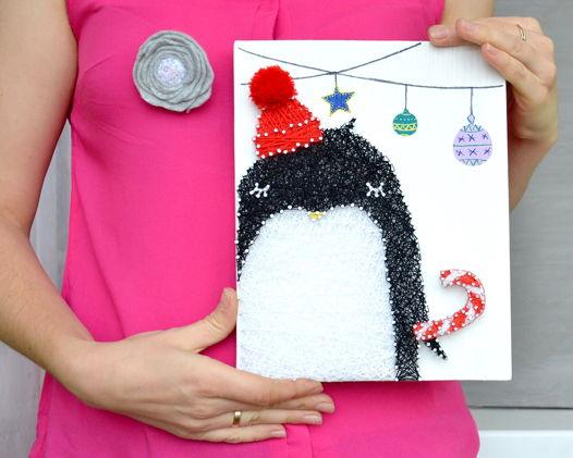 Пингвин Диндим string art интерьерное панно