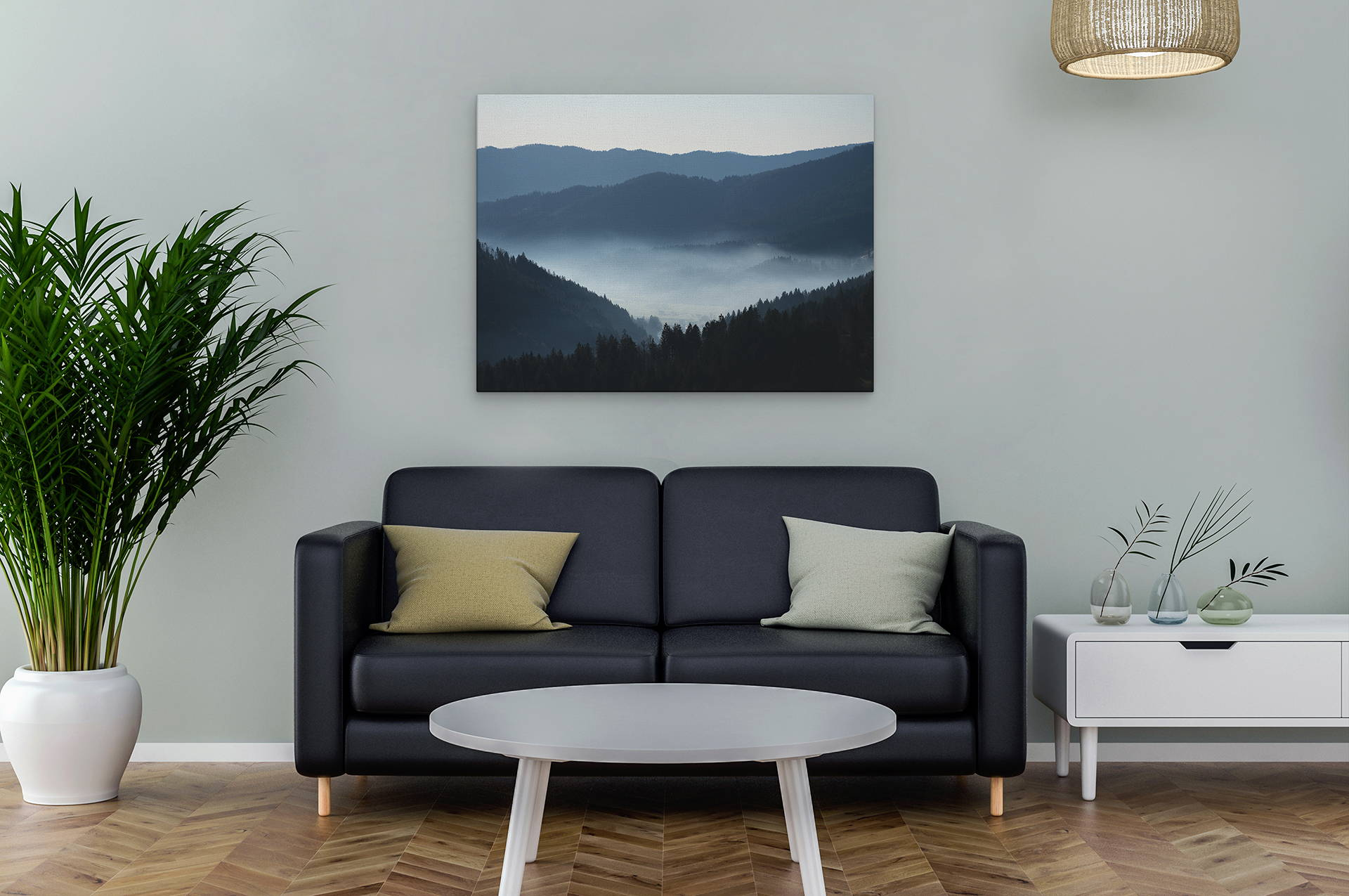 Mountain with lake canvas wall art above couch in a room