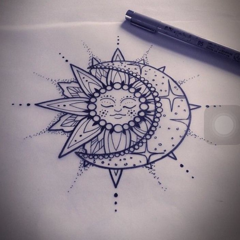 175a8f6ae Sun And Moon Tattoos: Meanings, Ideas and Design Inspiration – TribeTats